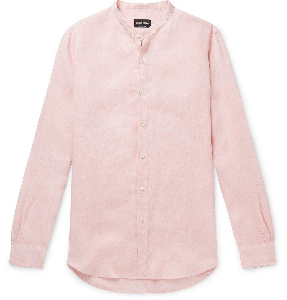 Giorgio Armani - Nehru Grandad-Collar Linen Shirt - Pink