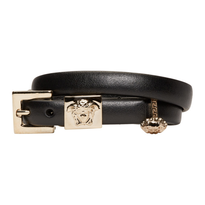 Photo: Versace Black Leather Medusa Charm Bracelet