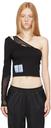 MCQ Black Off-Shoulder Twisted Long Sleeve T-Shirt