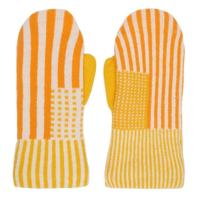 Photo: ERL Orange and Yellow Wool Striped Mittens