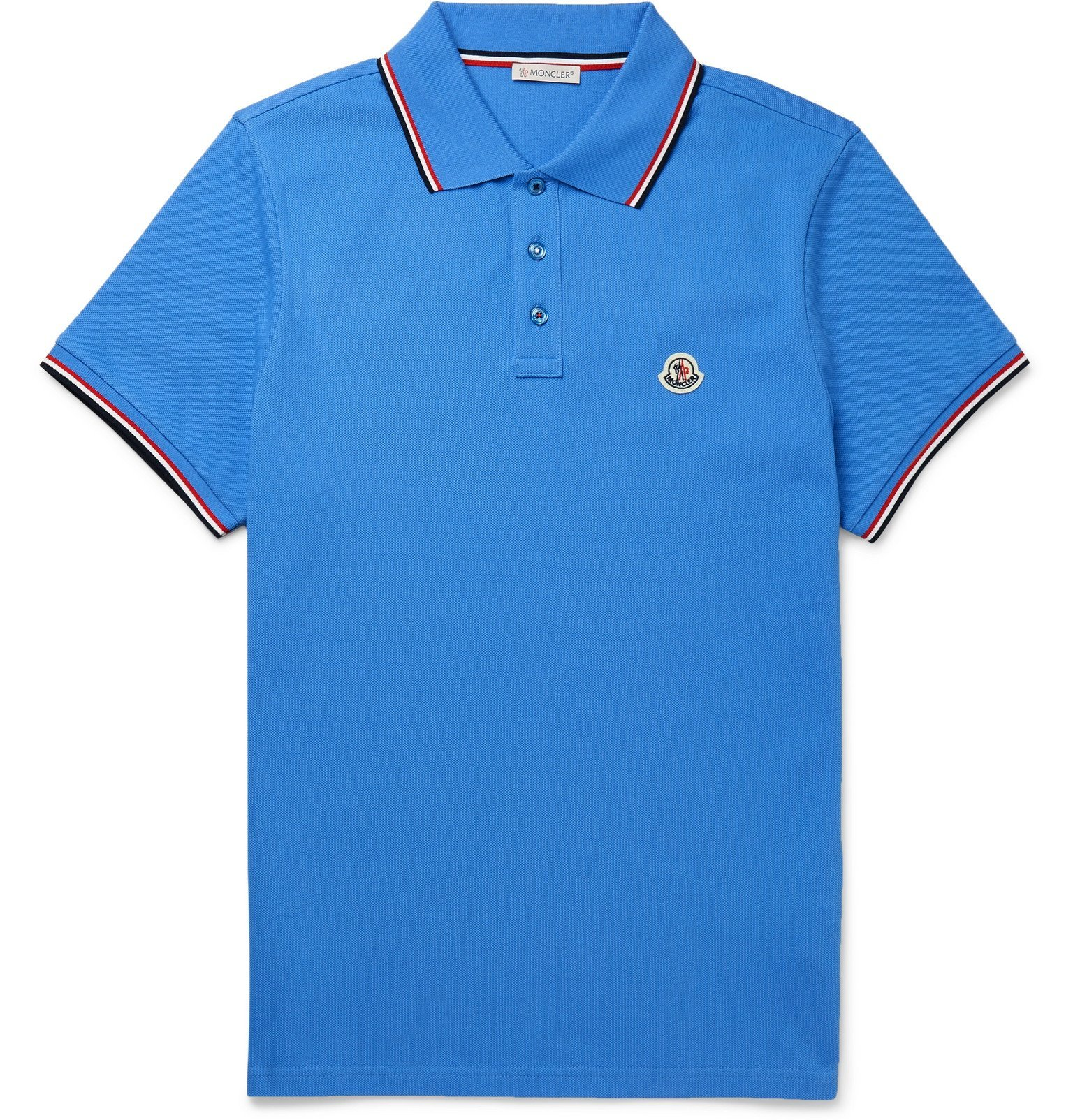 Photo: Moncler - Logo-Appliquéd Striped Cotton-Piqué Polo Shirt - Blue