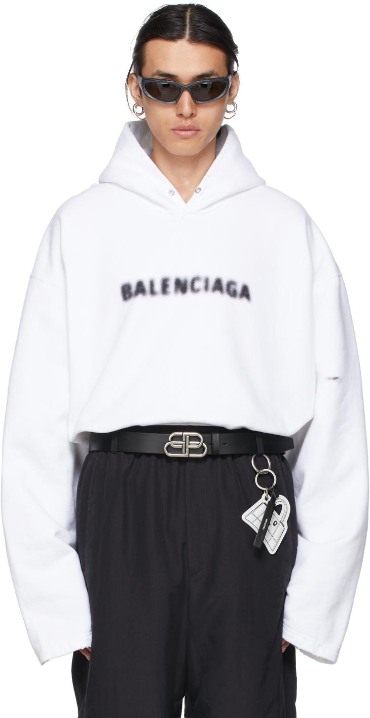 Photo: Balenciaga White Blurry Logo Hoodie
