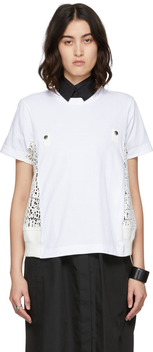 Photo: Sacai White Embroidered Lace T-Shirt