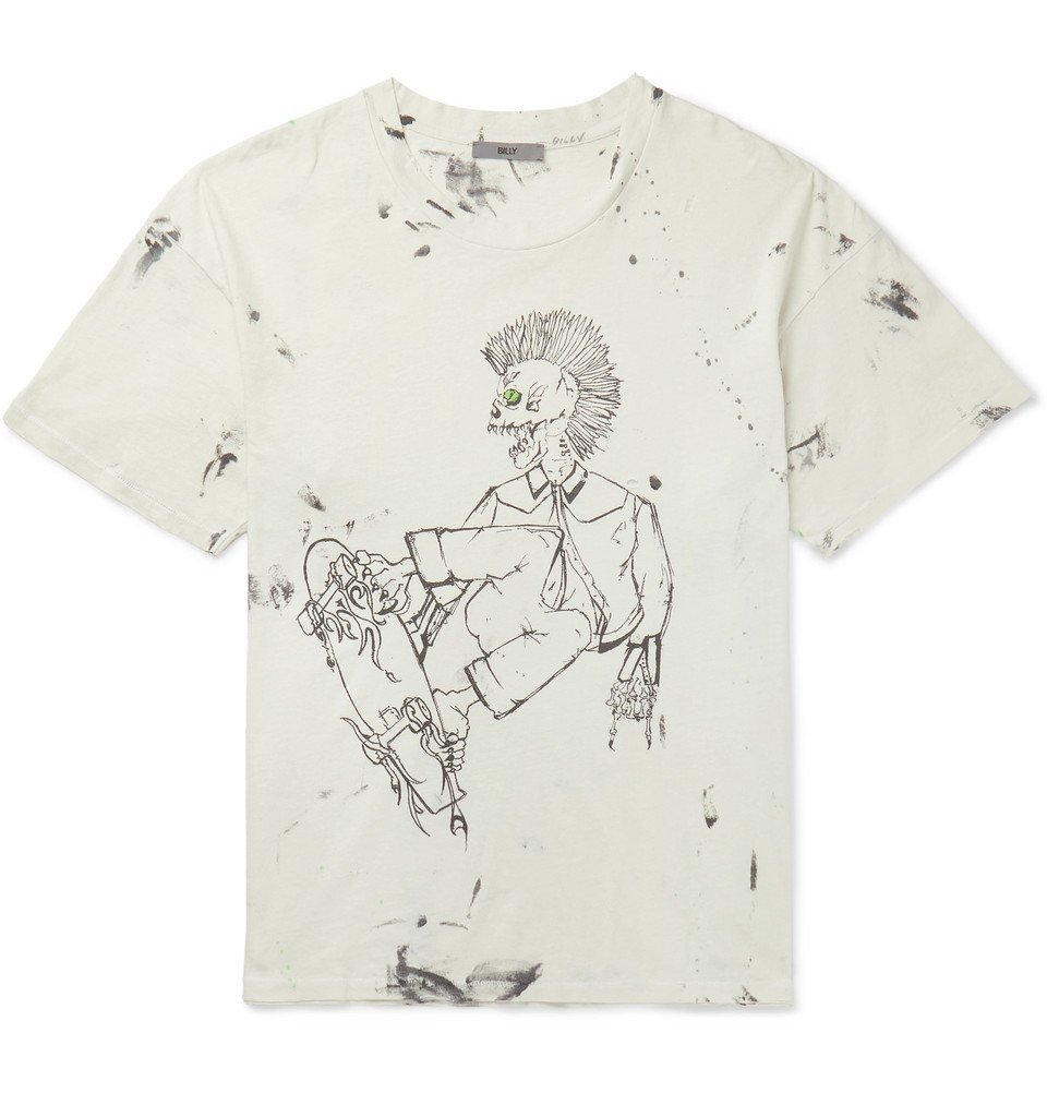 Photo: BILLY - Eastlake Distressed Printed Cotton-Jersey T-Shirt - Ecru