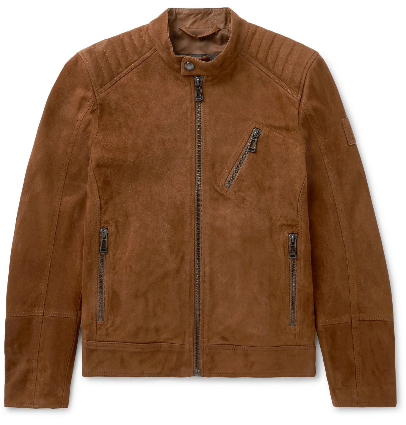 Photo: BELSTAFF - V Racer 2.0 Slim-Fit Suede Jacket - Brown