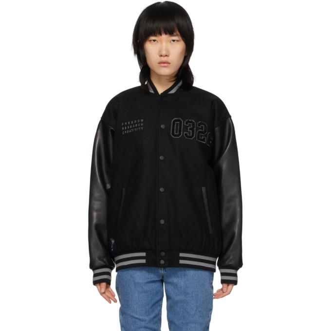 Photo: 032c Black Logo Patches Varsity Jacket