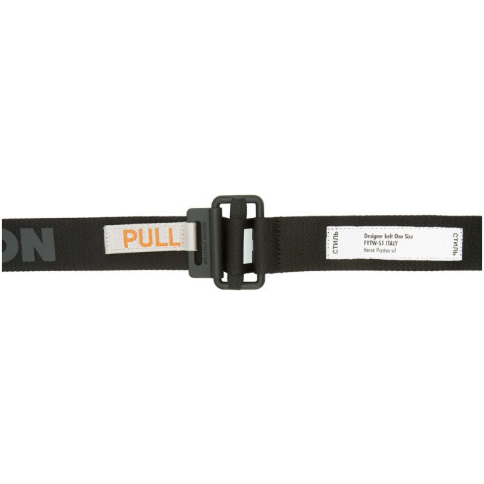 Photo: Heron Preston Black Logo Tape Belt