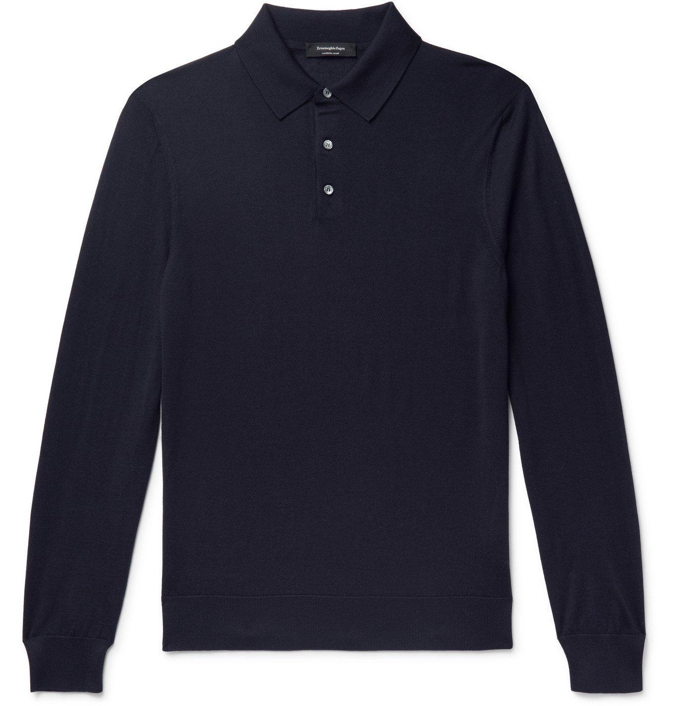 Photo: Ermenegildo Zegna - Cashmere and Silk-Blend Polo Shirt - Blue