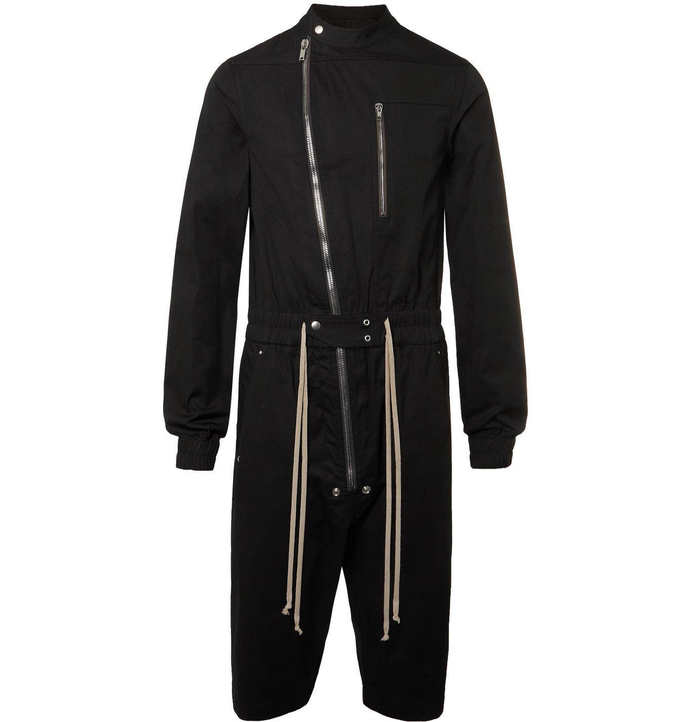 Photo: RICK OWENS - Gary Slim-Fit Organic Cotton-Blend Poplin Jumpsuit - Black
