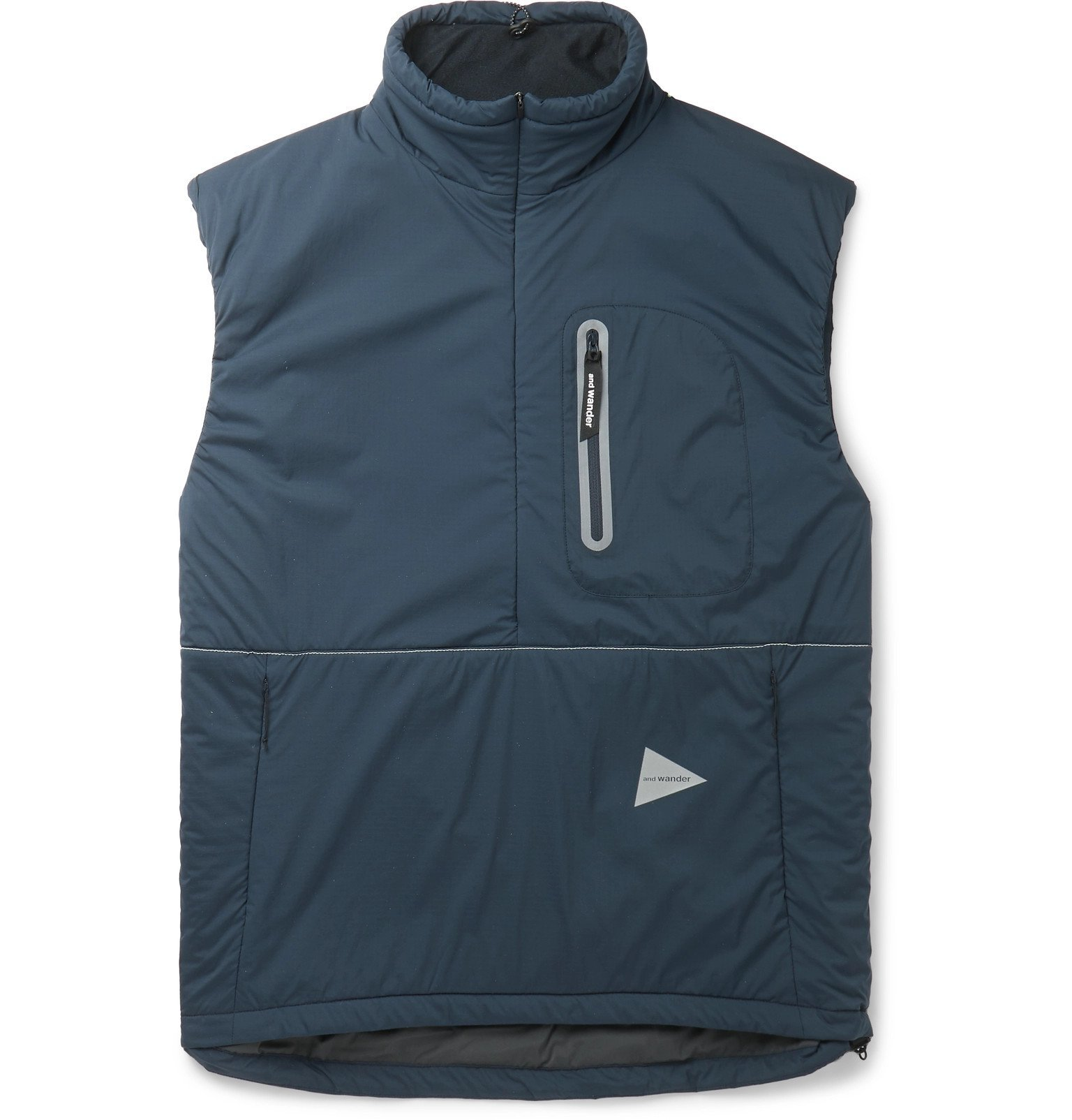 Photo: And Wander - Padded Polartec Alpha Shell Half-Zip Gilet - Blue