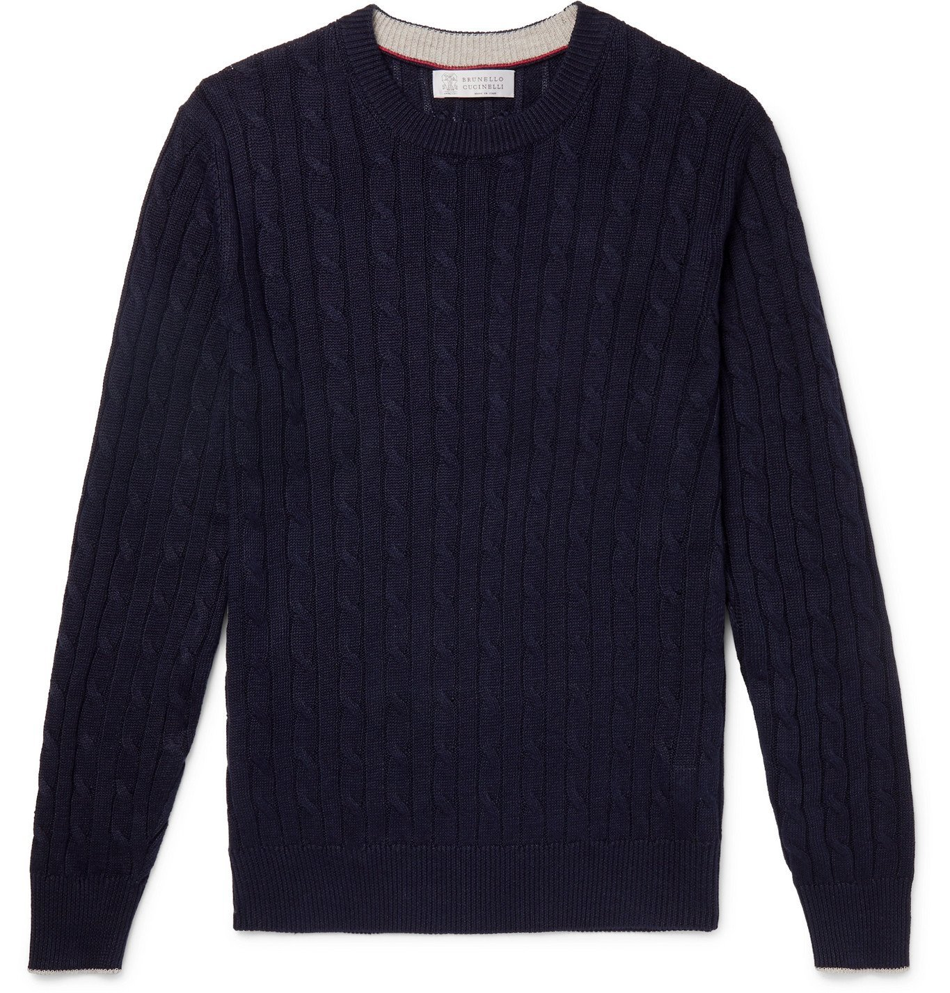 Photo: Brunello Cucinelli - Cable-Knit Linen and Cotton-Blend Sweater - Blue
