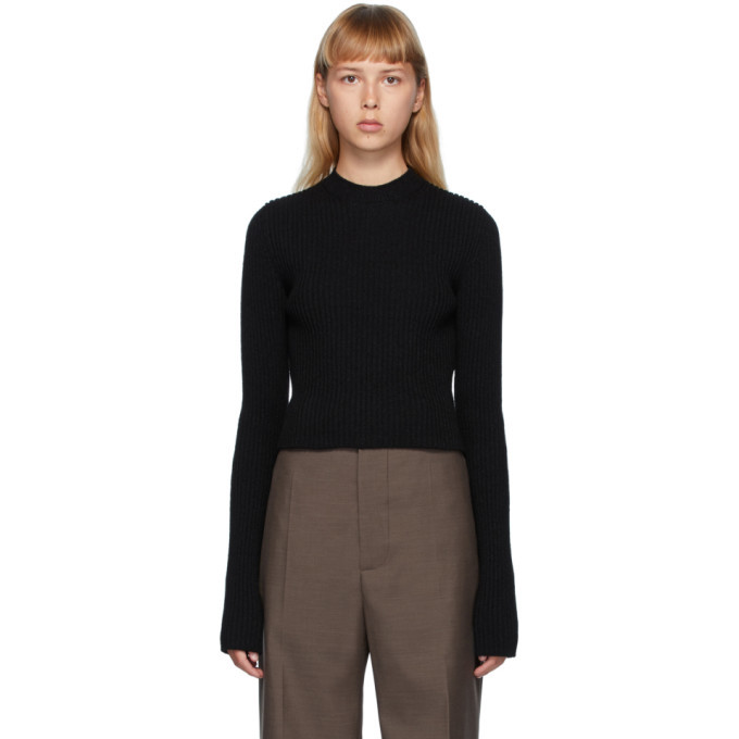 Photo: Bottega Veneta Black Rib Crewneck Sweater