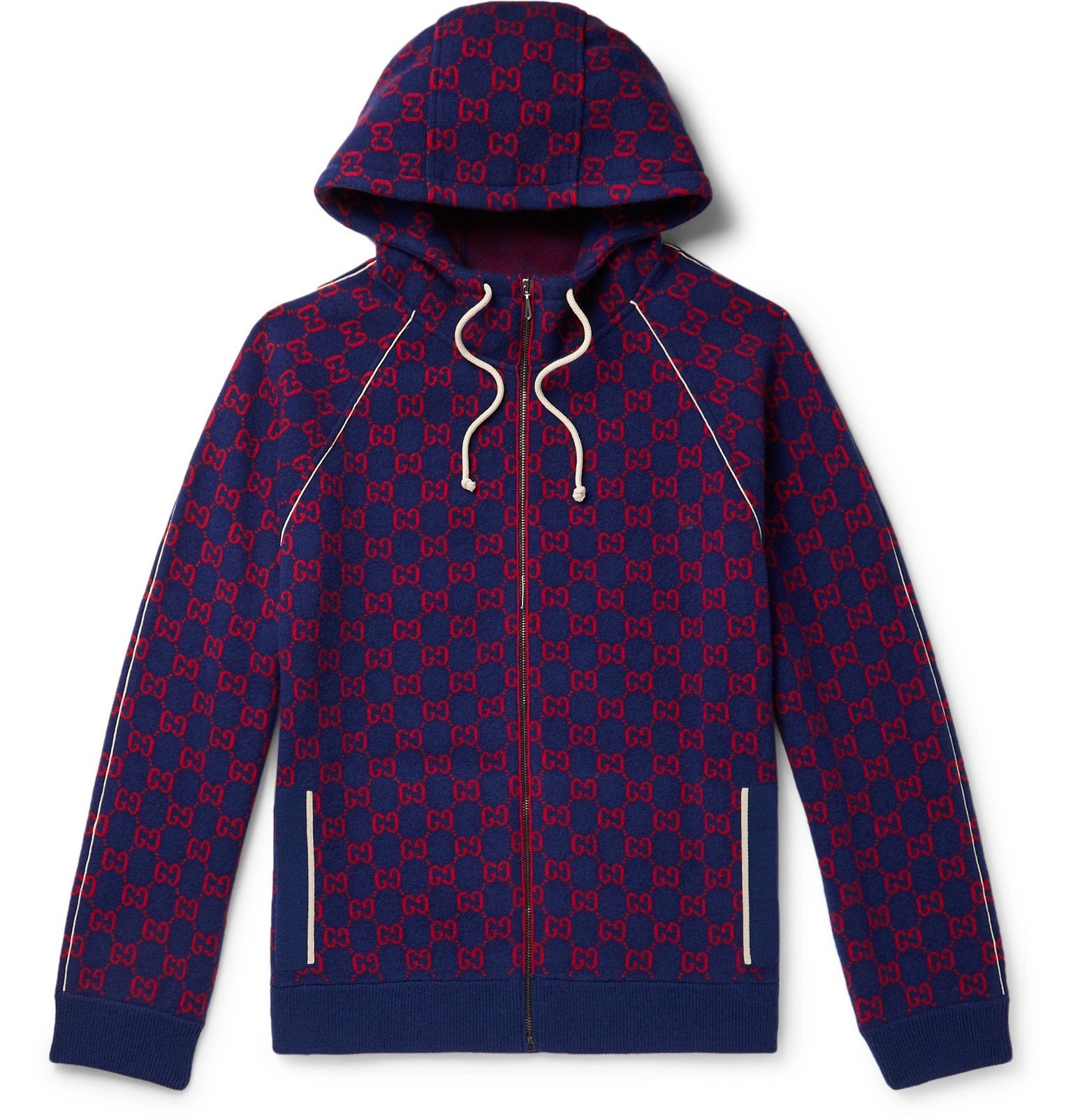 offer discounts cheaper sale retailer Gucci - Logo-Jacquard Wool and Cashmere-Blend Zip-Up Hoodie - Blue ...
