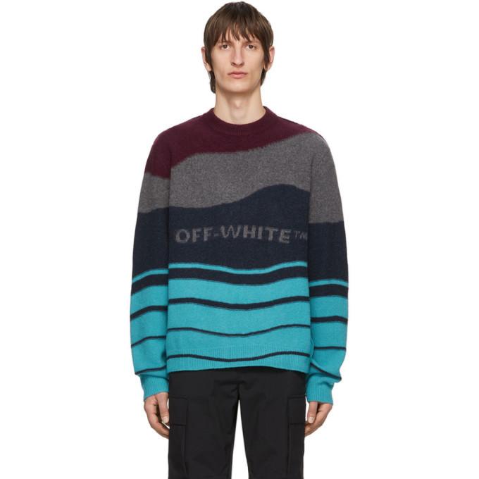 Photo: Off-White Burgundy and Navy Intarsia Sweater