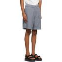 Acne Studios Navy and Green Checkered Shorts