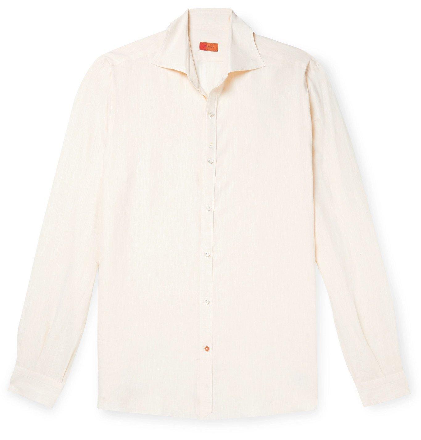 Photo: Isaia - Slim-Fit Logo-Embroidered Slub Linen Shirt - Yellow