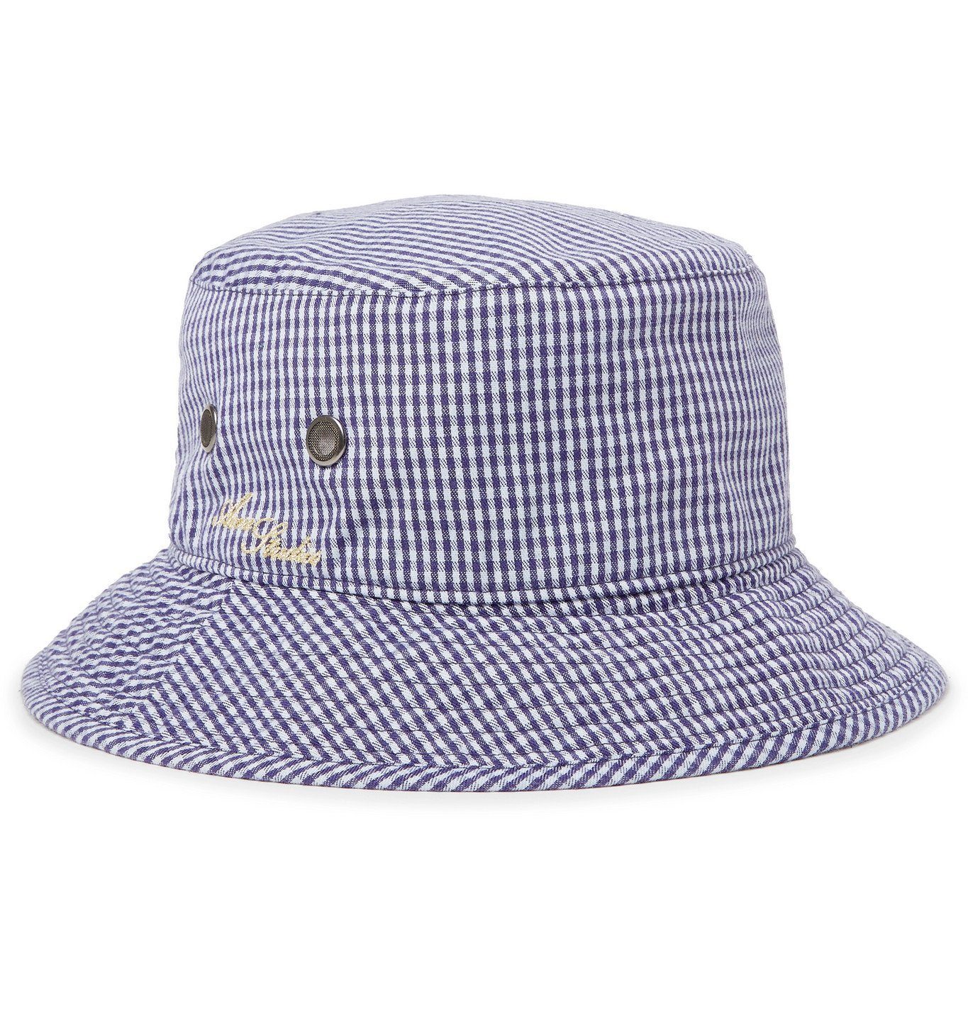 Photo: ACNE STUDIOS - Logo-Embroidered Gingham Woven Bucket Hat - Blue