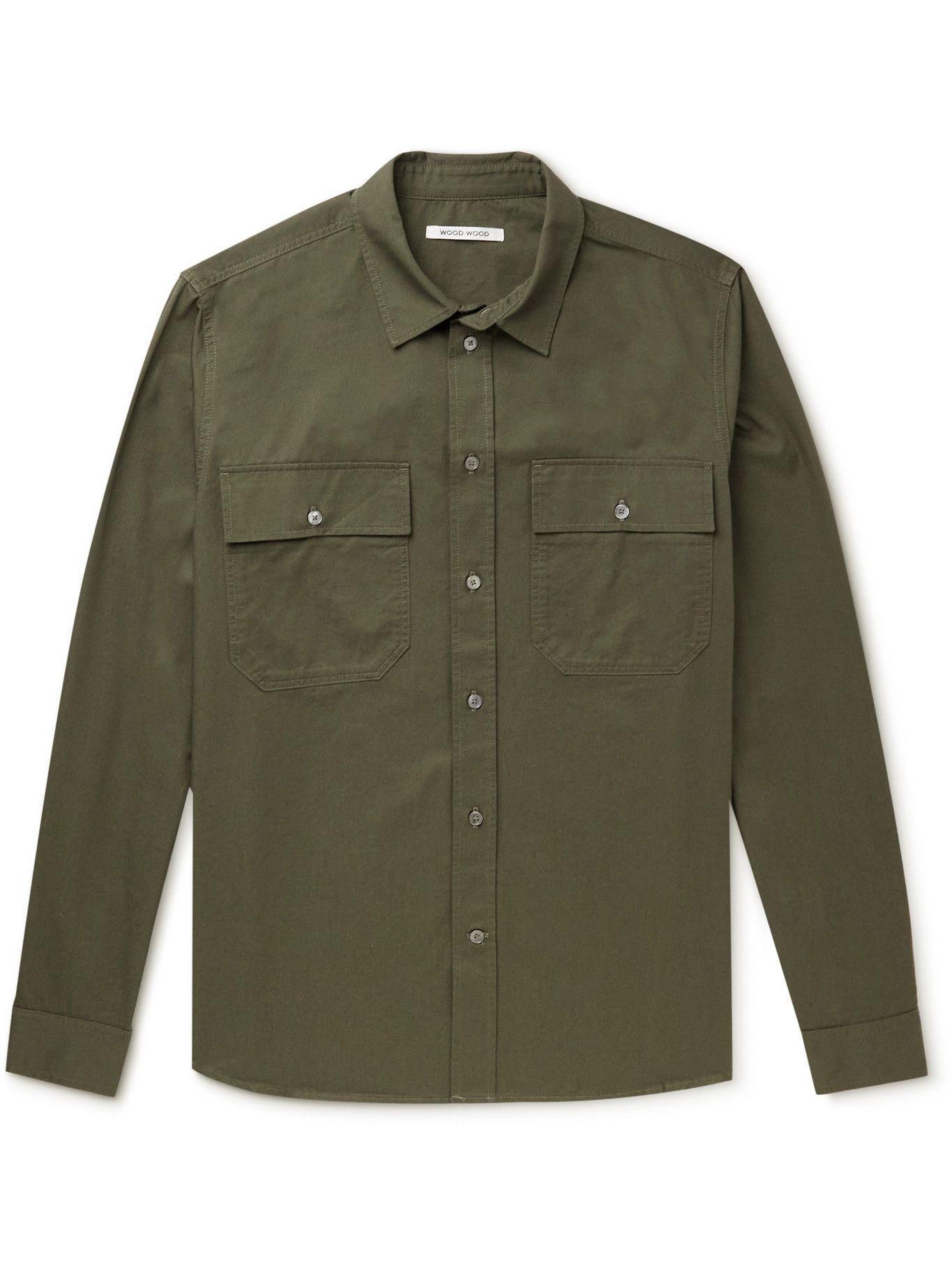 Photo: Wood Wood - Avenir Organic Cotton-Twill Shirt - Green