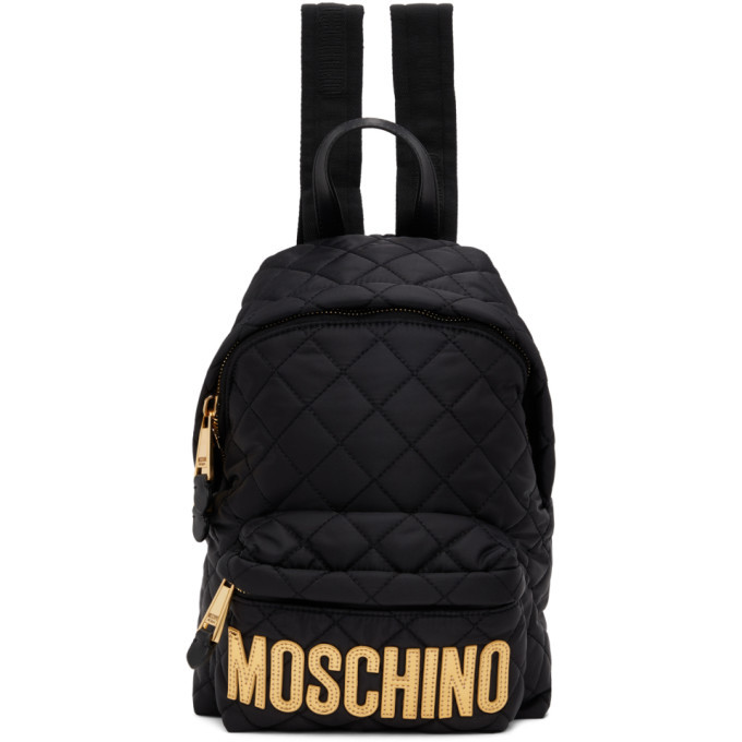 Photo: Moschino Black Small Quilted Logo Backpack