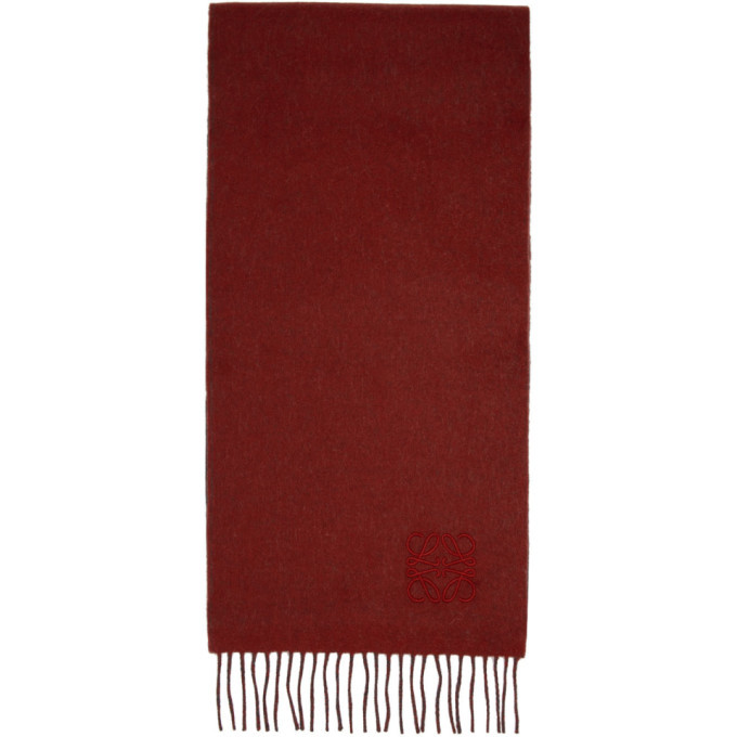 Photo: Loewe Red and Grey Anagram Scarf