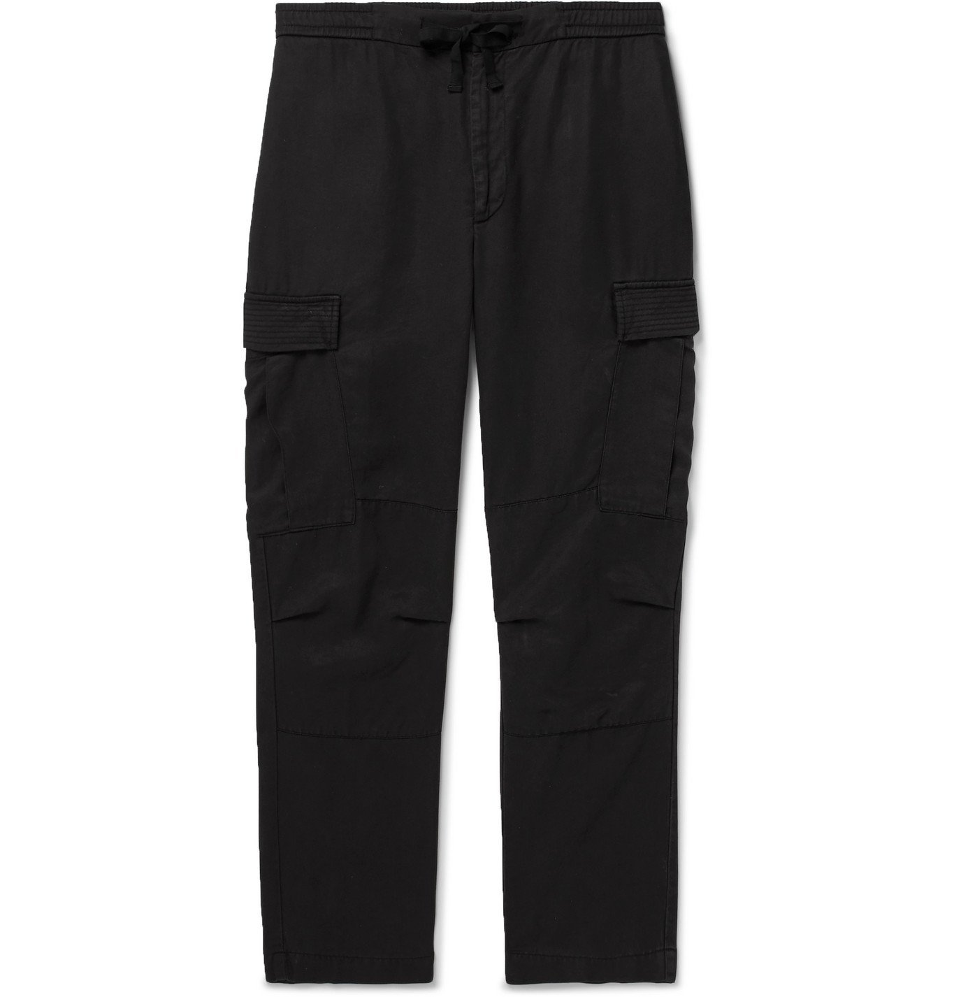 Photo: Officine Generale - Jay Garment-Dyed Tencel Drawstring Cargo Trousers - Black