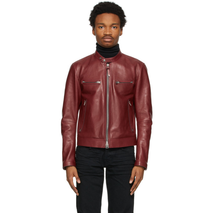 Photo: Tom Ford Red Shiny Leather Racer Jacket