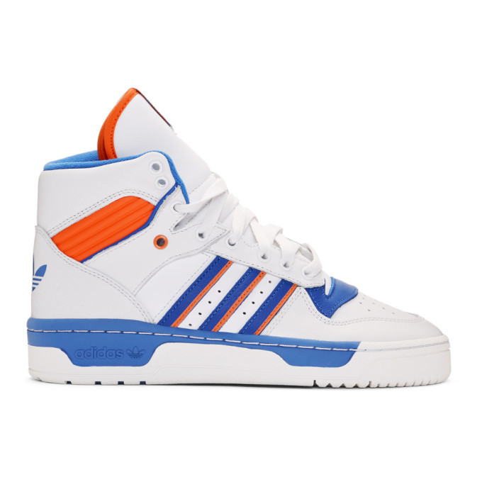 Photo: adidas Originals White and Blue Rivalry High-Top Sneakers