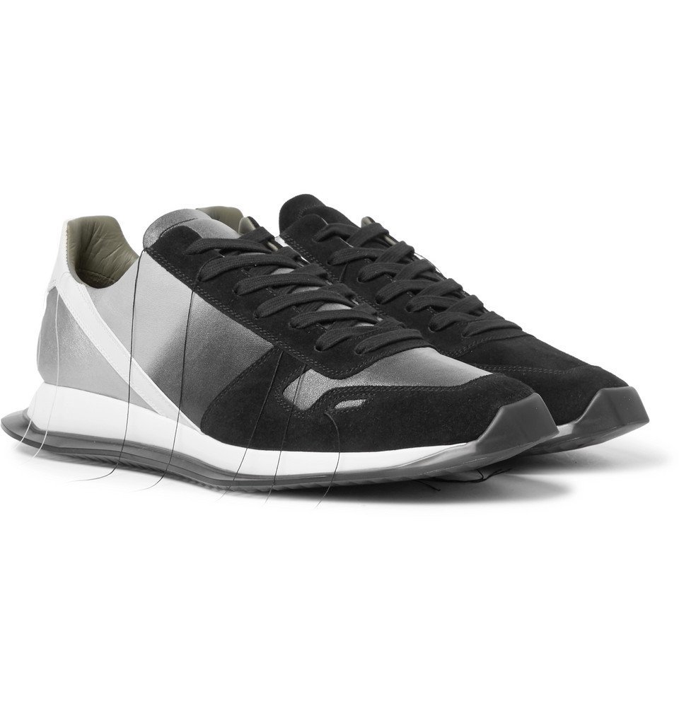 Photo: Rick Owens - New Vintage Runner Dégradé Suede and Leather Sneakers - Black