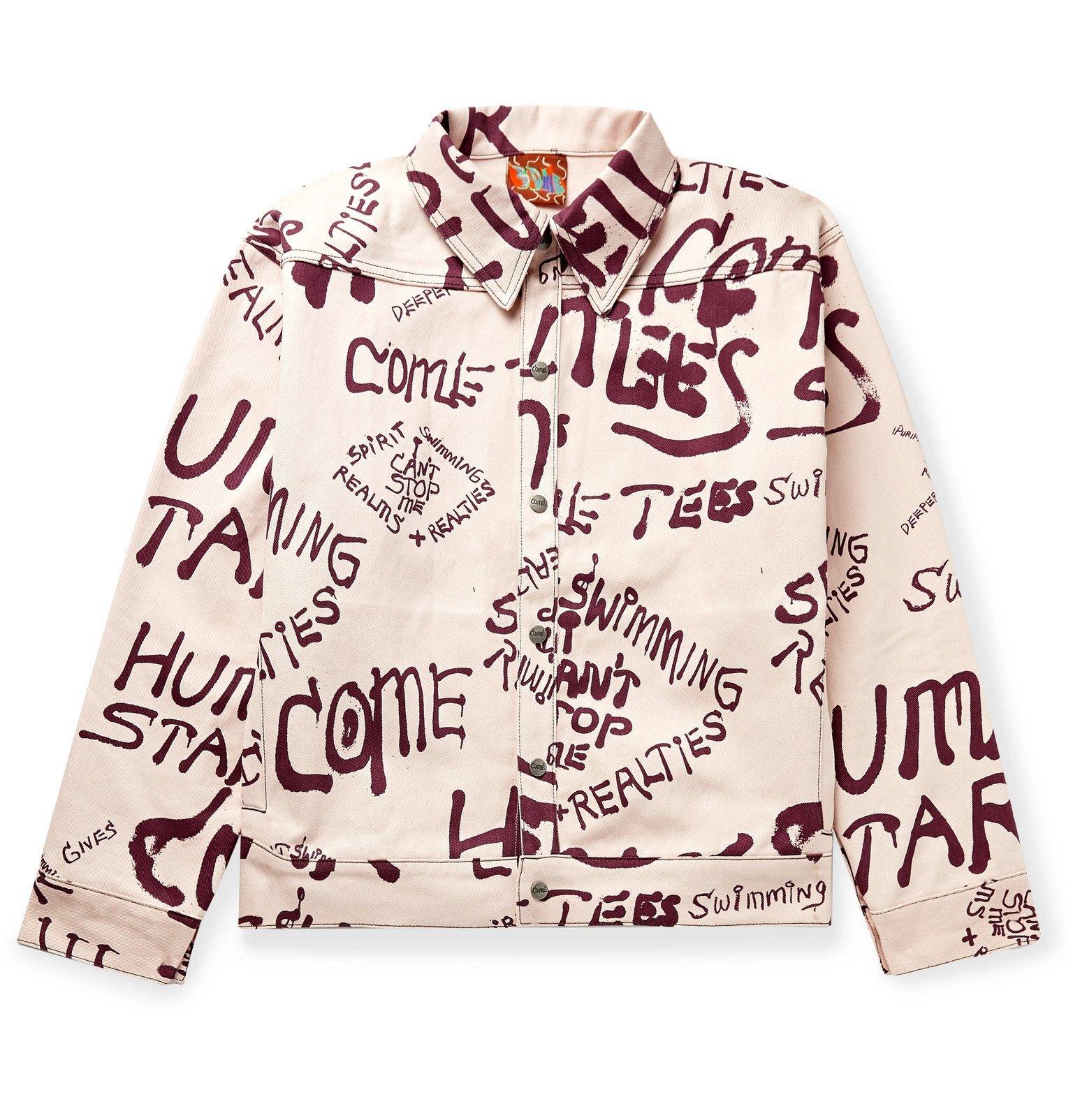 Photo: COME TEES - Printed Denim Jacket - Pink