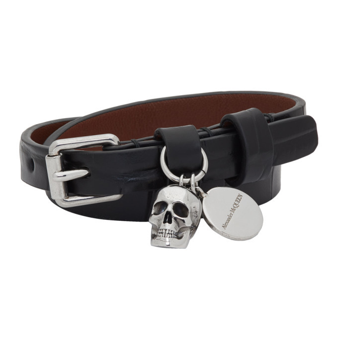 Photo: Alexander McQueen Black Croc Skull Double-Wrap Bracelet