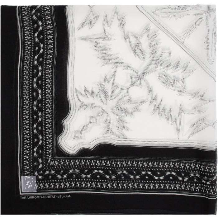 Photo: TAKAHIROMIYASHITA TheSoloist. Black and White Silk Scarf