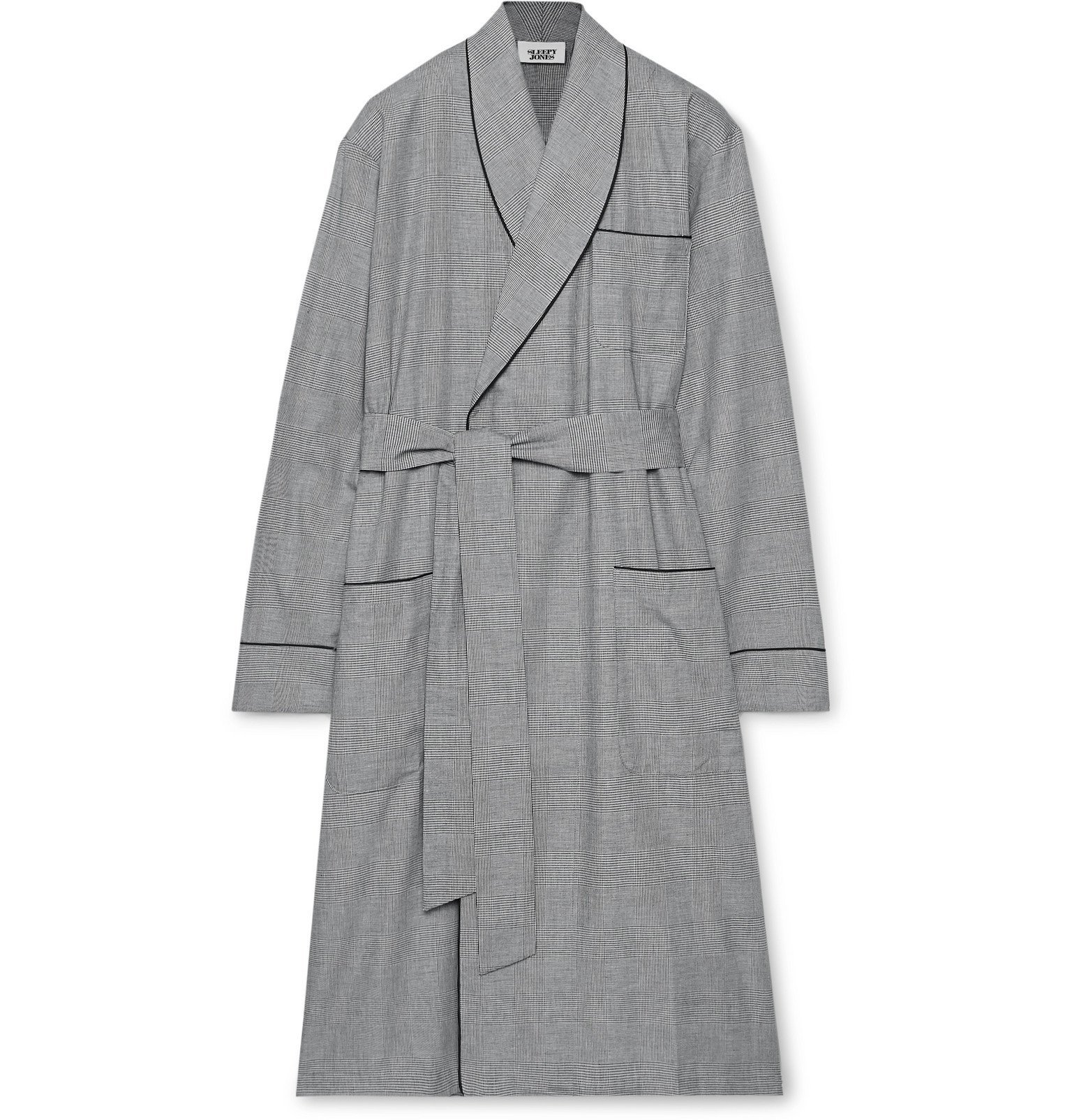 Photo: Sleepy Jones - Glenn Checked Cotton-Poplin Robe - Black