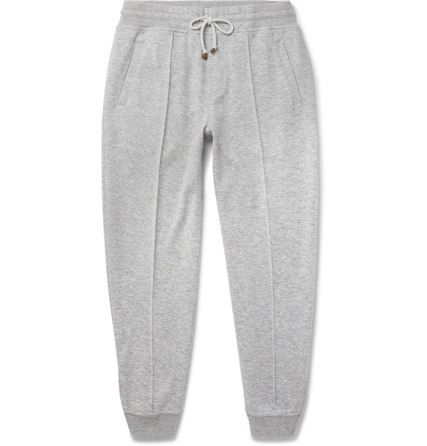 Photo: Brunello Cucinelli - Slim-Fit Mélange Cashmere and Cotton-Blend Drawstring Sweatpants - Gray