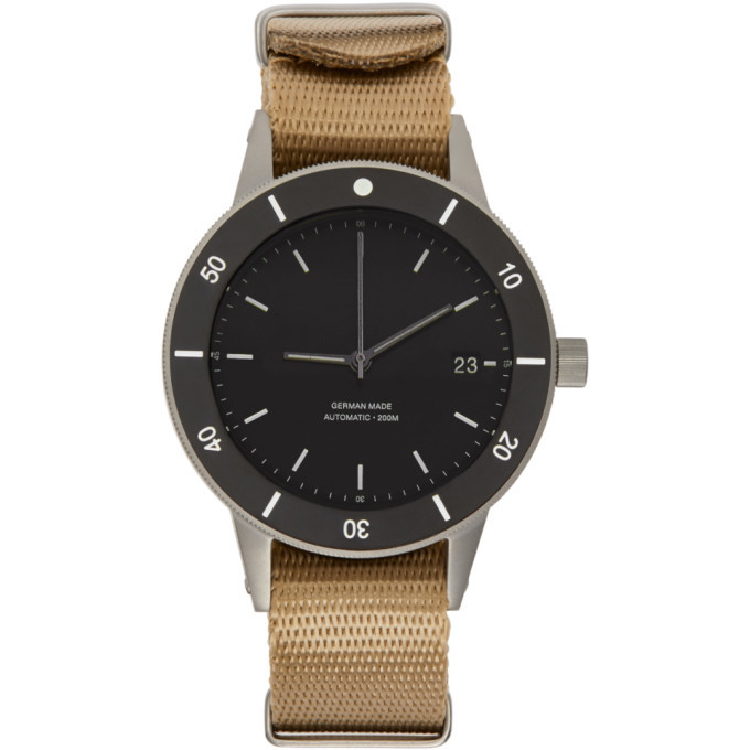 Photo: Instrmnt Black and Beige Webbing Dive Watch