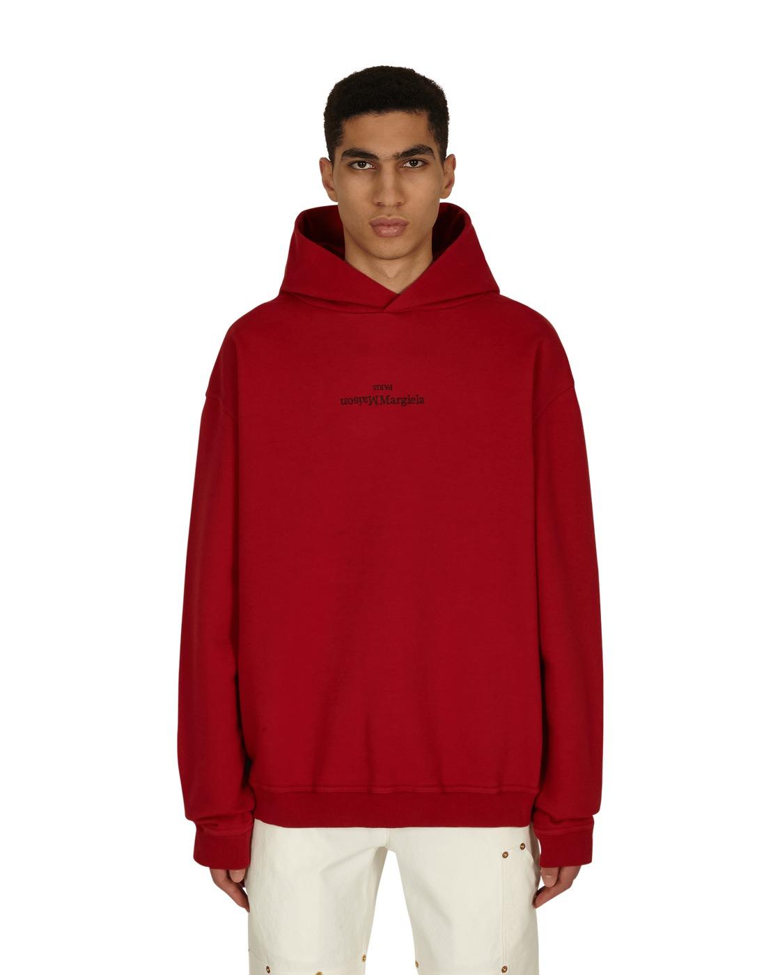 Photo: Maison Margiela Embroidered Logo Hooded Sweatshirt Military Red