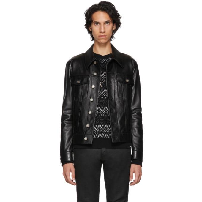 Photo: Saint Laurent Black Leather Trucker Jacket