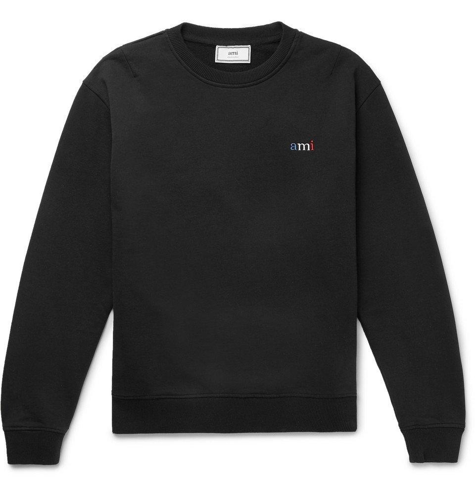 Photo: AMI - Logo-Embroidered Loopback Cotton-Jersey Sweatshirt - Black