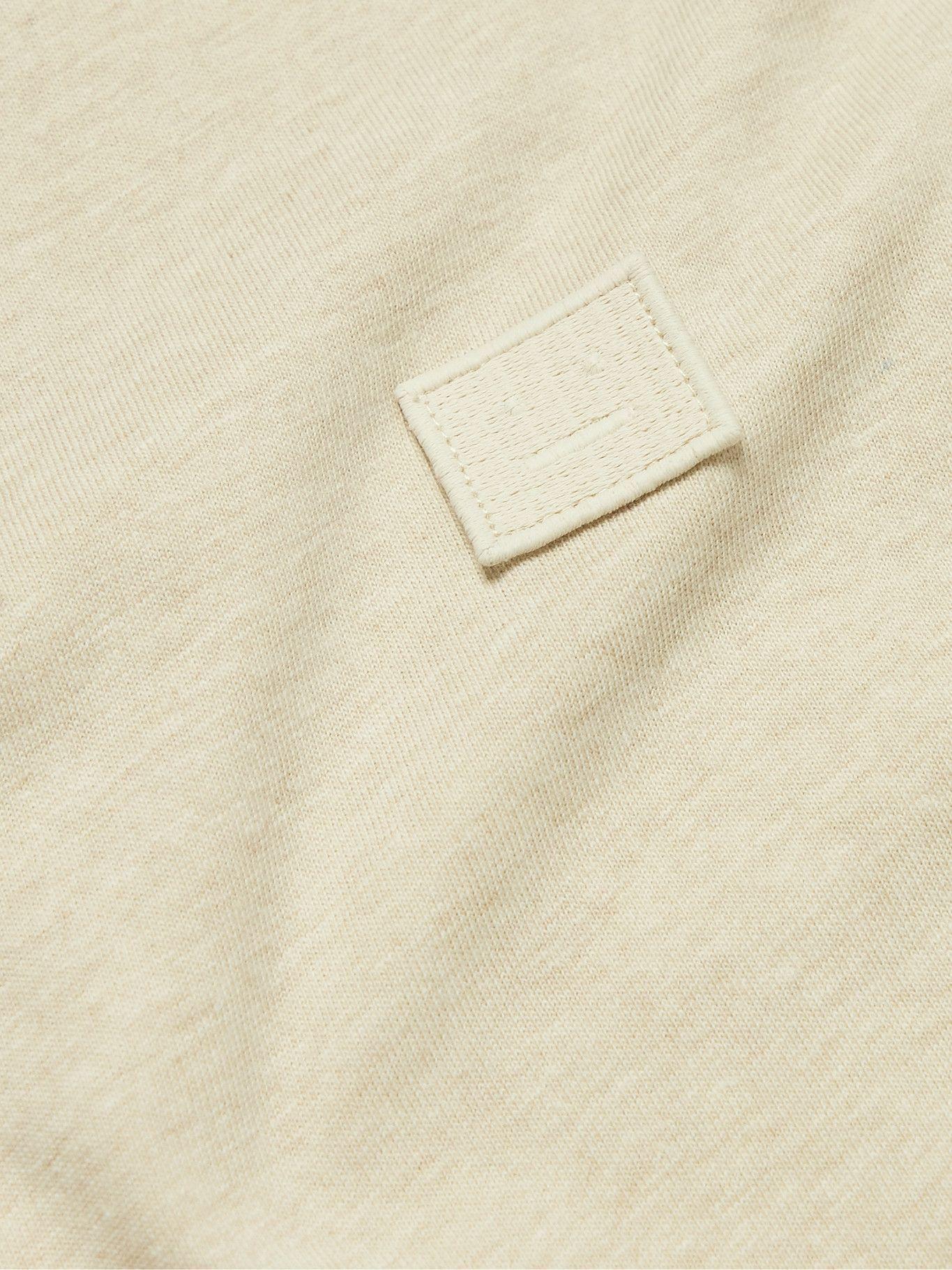 Photo: ACNE STUDIOS - Nash Logo-Appliquéd Cotton-Jersey T-Shirt - Neutrals