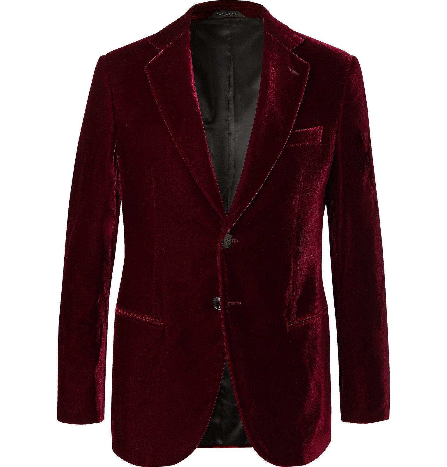 Photo: Giorgio Armani - Claret Slim-Fit Velvet Tuxedo Jacket - Burgundy