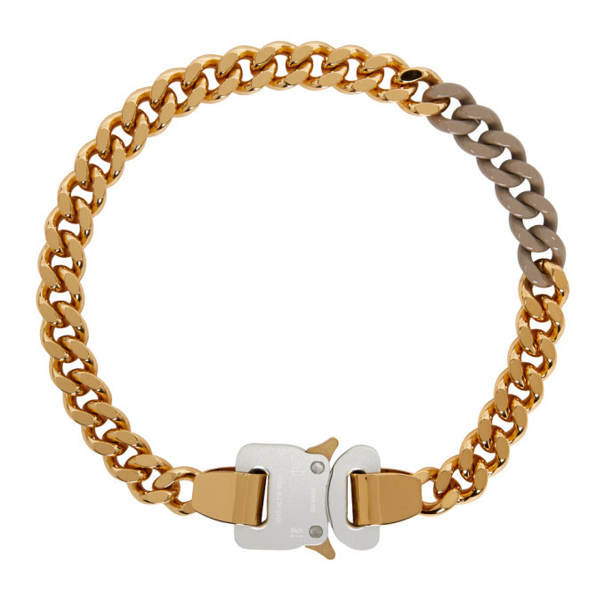 Photo: 1017 ALYX 9SM SSENSE Exclusive Gold and Beige Colored Links Buckle Necklace