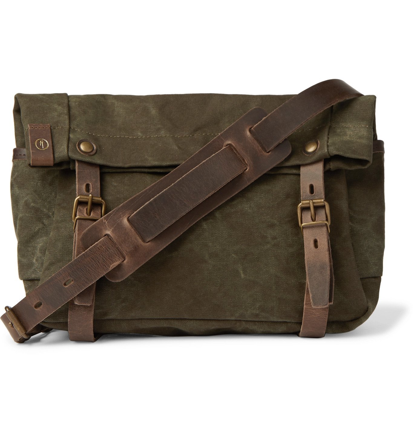 Photo: Bleu de Chauffe - Gibus Leather-Trimmed Waxed Cotton-Canvas Messenger Bag - Green