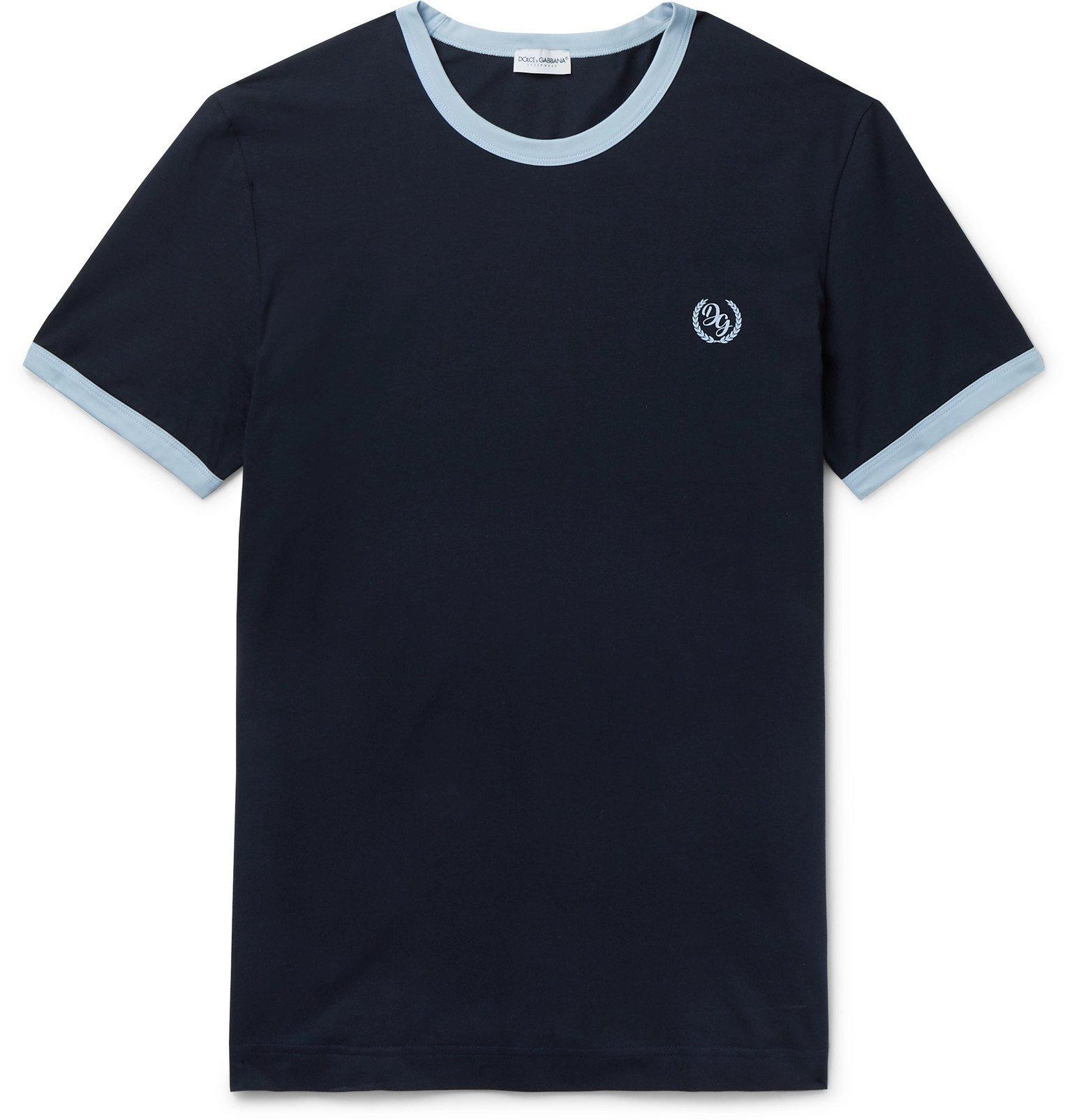 Photo: Dolce & Gabbana - Logo-Print Stretch-Cotton Jersey T-Shirt - Blue