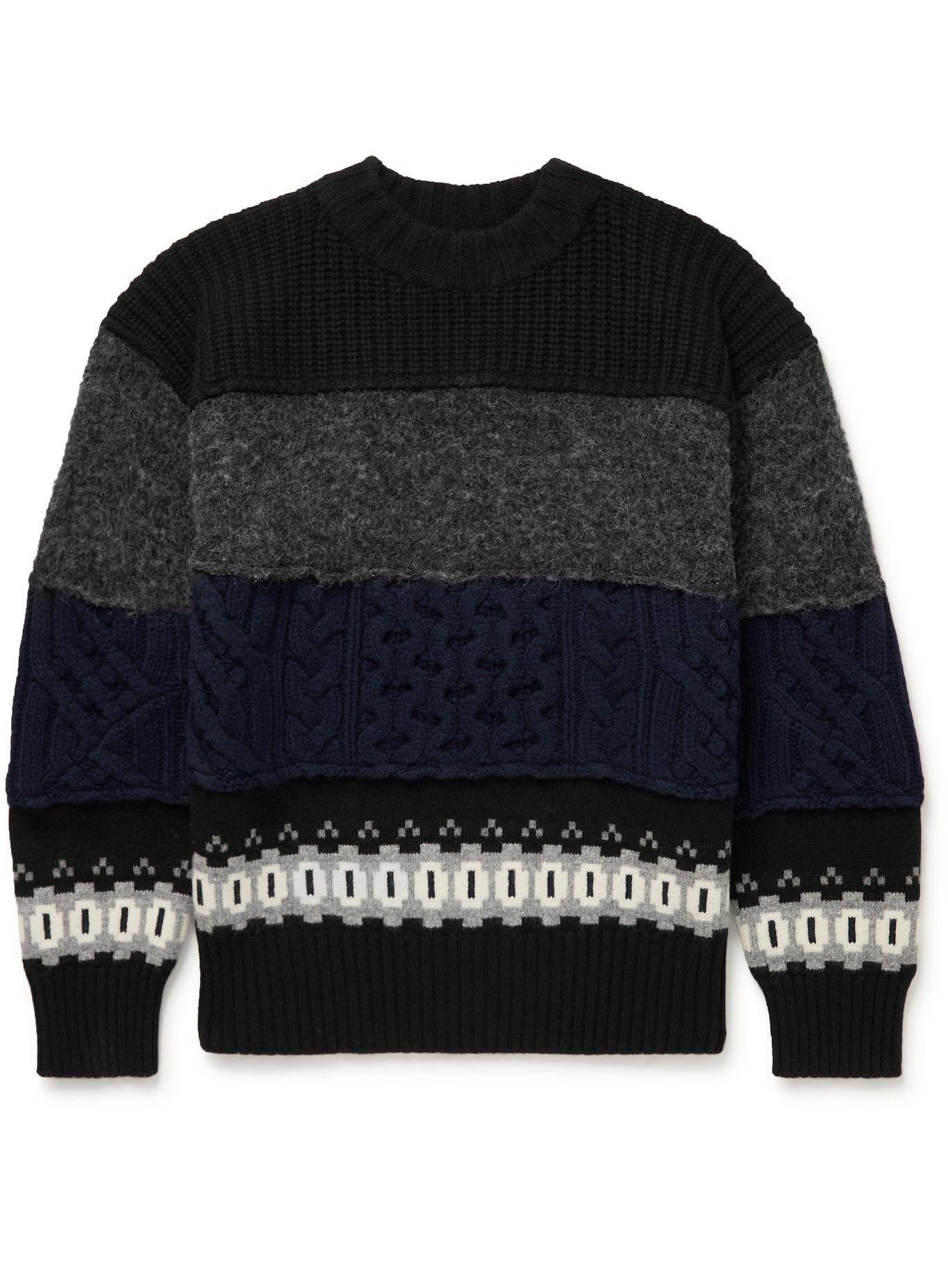 Sacai - Panelled Wool-Blend Sweater - Black
