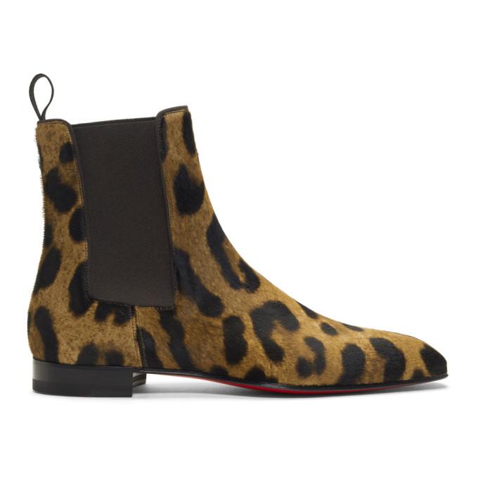 Photo: Christian Louboutin Brown Leopard Calf-Hair Roadie Orlato Flat Boots