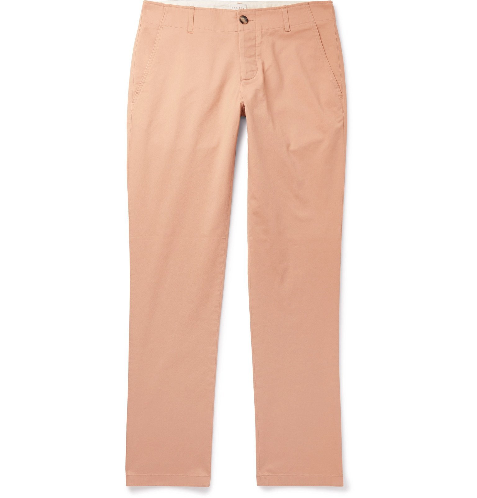 Photo: Sandro - Slim-Fit Washed Cotton-Blend Chinos - Pink