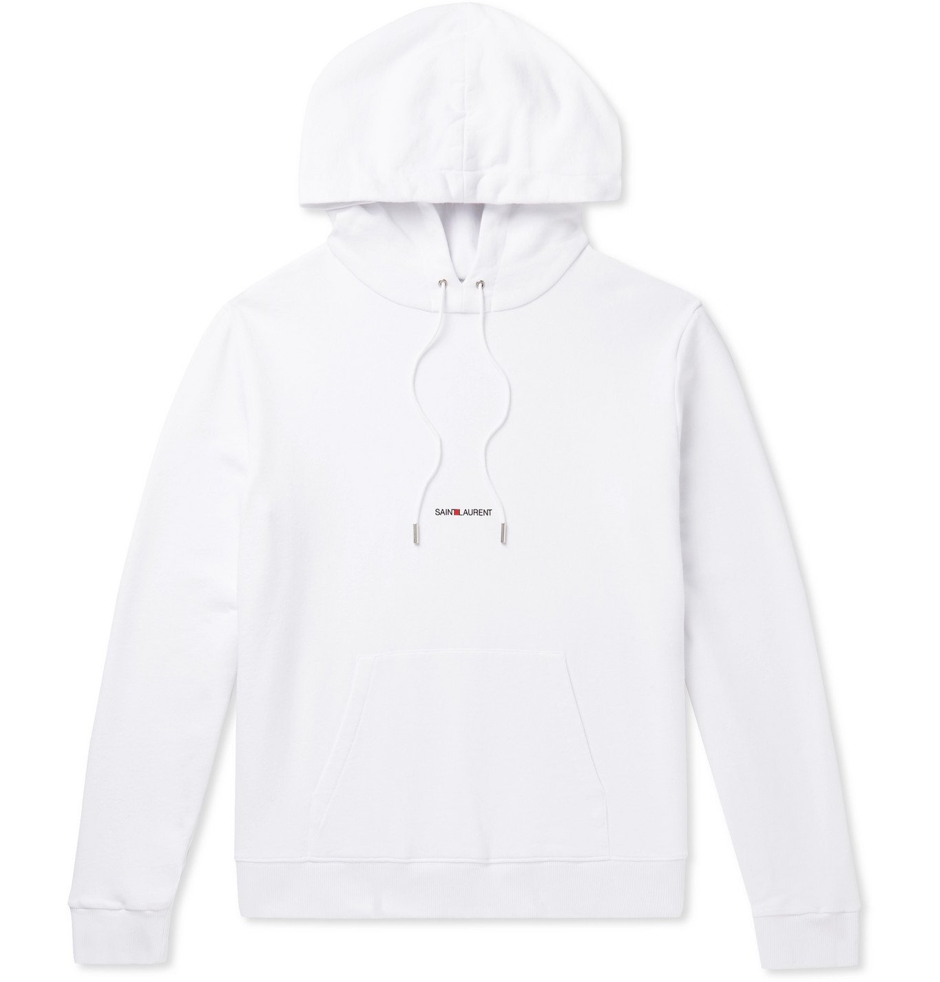 SAINT LAURENT - Logo-Print Loopback Cotton-Jersey Hoodie - White