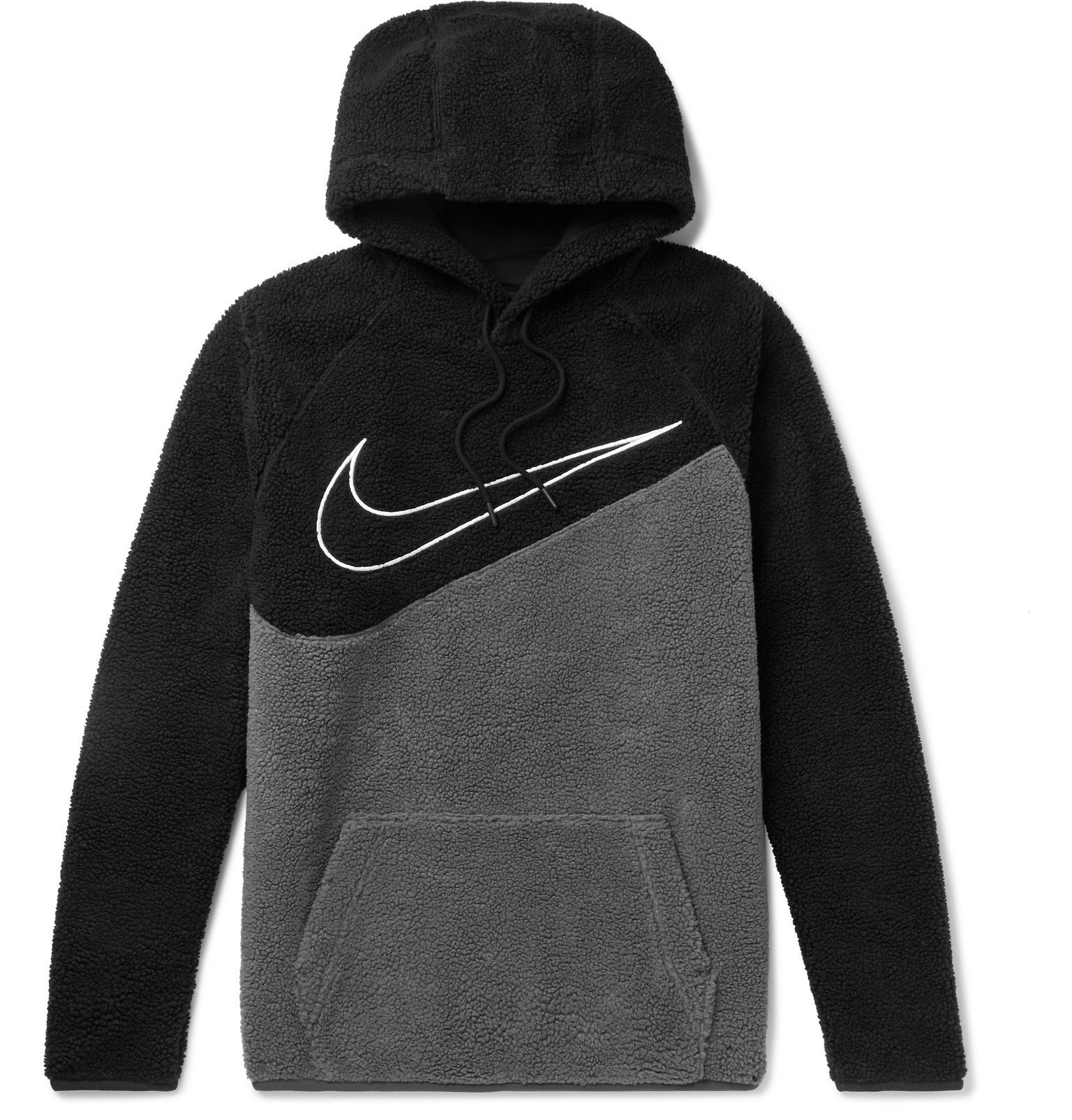 Nike - Sportswear Logo-Embroidered Two-Tone Fleece Hoodie - Black