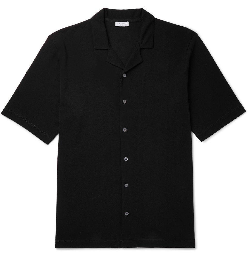Sunspel - Camp-Collar Cotton-Piqué Shirt - Black