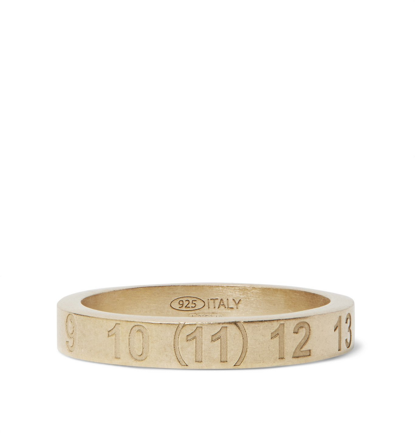 Photo: MAISON MARGIELA - Logo-Engraved Brushed Gold-Plated Ring - Gold