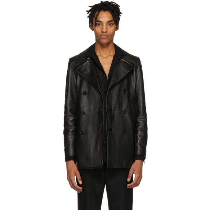 Photo: Saint Laurent Black Leather Double-Breasted Jacket